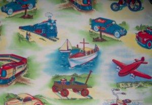 FQ Retro Fun In Transit Transporation Vehicles Fat Quarter Kids Cotton Michael Miller Fabric