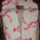 Handmade Double Thickness Fleece Scarf with Breast Cancer Awareness Pink Ribbons and Hearts on White