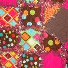 Handmade Baby Girl Gift Set Pink & Brown Rag Crib Quilt Receiving Blanket & Burp Clothes