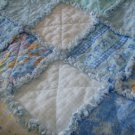 Rag Crib Quilt & Matching Burp Clothes Handmade Blue Yellow White Baby Boy Gift Set