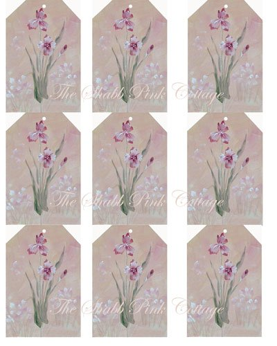 Iris Cottage Garden Shabby n Chic Tags Collage Sheet