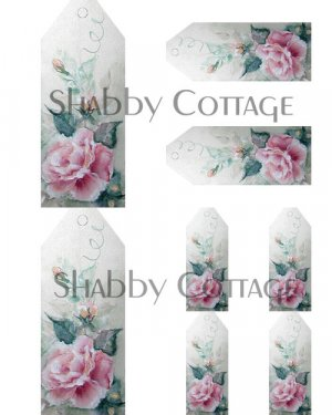 Shabby n Chic Vintage Roses Price Tags Digital Collage Sheet
