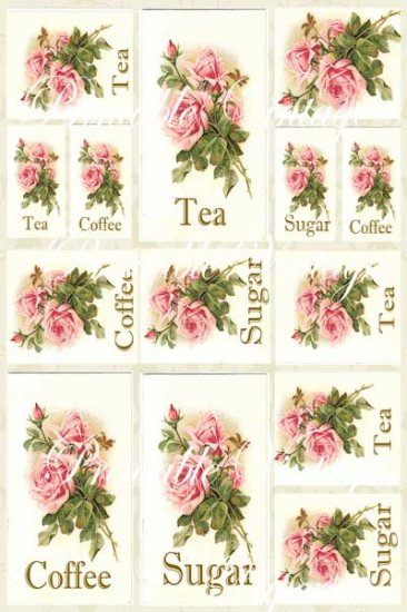 Sugar Roses Shabby n Chic  Digital Collage Sheet