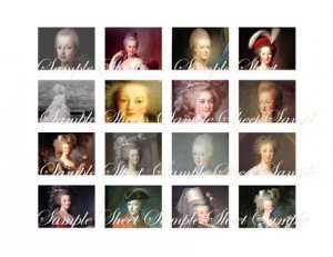 Marie Antoinette Charms Images Digital Collage Sheet.