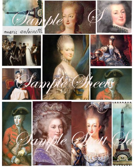 Marie Antoinette Paris Portraits Collage Sheet.