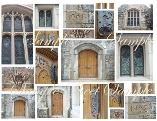 Digital Collage Sheet Haunted Halloween Chapel EC