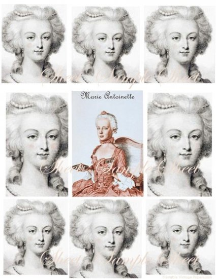 Digital Collage Sheets Marie Antoinette Paris Pink  EC116