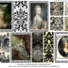 Marie Antoinette Portraits Black and White Damask Digital Collage Sheet EC211