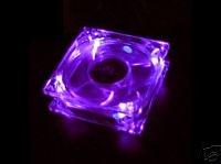 Quiet Quad 4-LED Ultra Bright Purple 80MM PC Case Fan