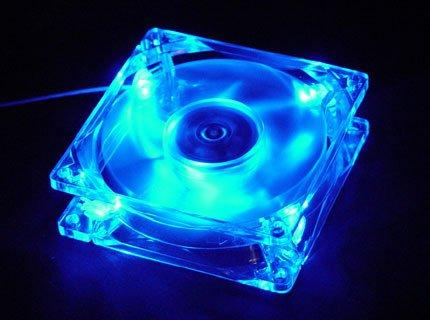 Quiet Quad 4-LED Ultra Bright Blue 80MM PC Case Fan