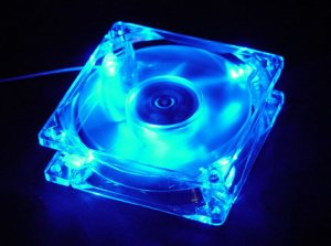 Quiet Quad 4-LED Ultra Bright Blue 80MM PC Case Fan