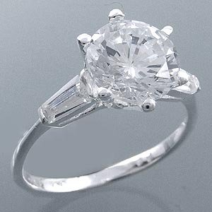 Sterling silver and CZ solitare with baguettes