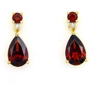 2.87ct Garnet Diamond Dangle Earrings 14KT Yellow Gold