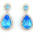 Blue Topaz Diamond Dangle Earrings 14KT White Gold