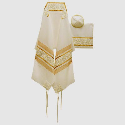 Silk Hand Made 3 Piece Tallit Kippa Bag Set
