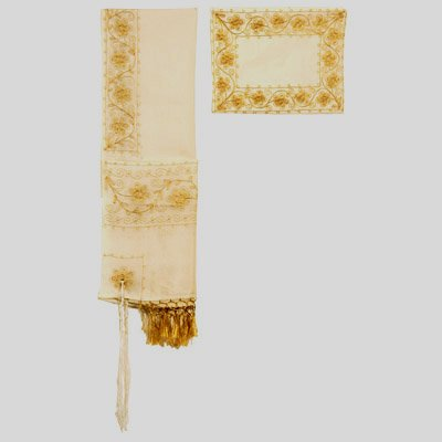Gold Embroidered Flowers Tallit Set