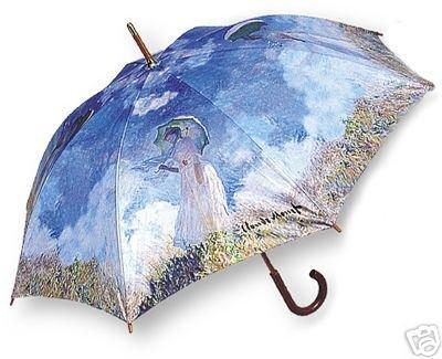 Fine Monet Art Woman With Umbrella Wood Handle