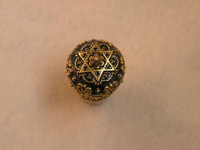 Judaica Blue Gold Star David Wine Stopper