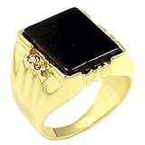 18kt Gold Plated Ring with Genuine Onyx Stone Size 11