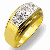 18kt Gold Plated Ring with 3 clear stones Size 11