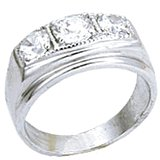18kt White Gold Plated Ring with 3 clear stones Size 13