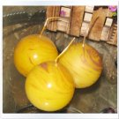 Set of 3 Sphere Candles without scent in wood grain style #3