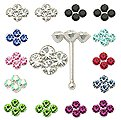 20pcs. Four Jeweled Silver Nose Studs