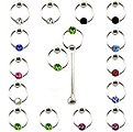 20pcs. Jeweled CBR Silver Nose Studs