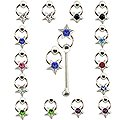 20pcs. Jeweled Star CBR Silver Nose Studs