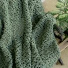 HAND CROCHETED AFGHAN IN  THYME GREEN