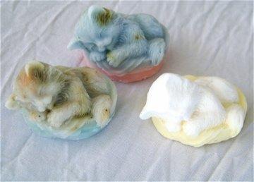3 Handmade Customized Sleeping Kitty Goats Milk Soaps