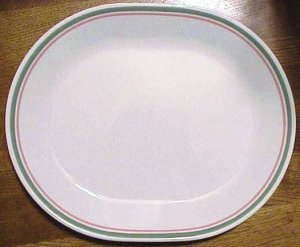 Corelle Heather Green Pink Bands Stripes Platters Plates