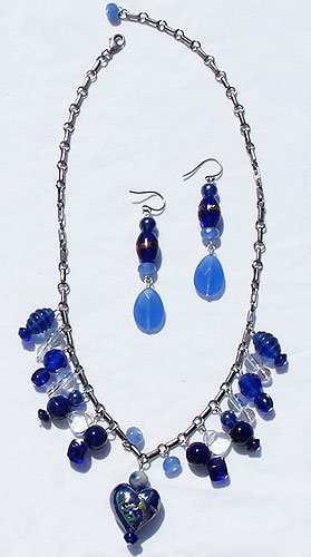 Blue Jade, Blue Lapis & Antiqued Sterling Silver 2-Piece Necklace Set - FREE SHIPPING!