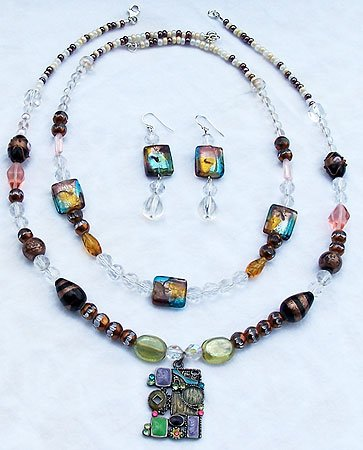 Aurora Borealis Crystal & Murano Style Bead 3-Piece Necklace Set - FREE SHIPPING!