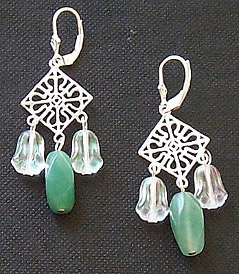 Genuine Aventurine & Sterling Silver Chandelier Earrings - FREE SHIPPING!