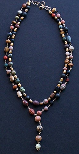 "Golden Pearl & Multi Gemstone Double Strand ""Y"" Necklace - FREE SHIPPING!"