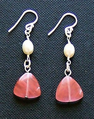 Sterling Silver, Cherry Quartz & Pearl Earrings - FREE SHIPPING!