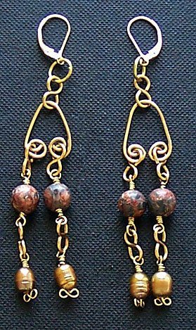 14k Gold Fill, Golden Pearl & Leopard Skin Jasper Gemstone Earrings - FREE SHIPPING!