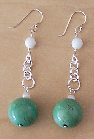 Sterling Silver, White Chalcedony & Turquoise Earrings - FREE SHIPPING!