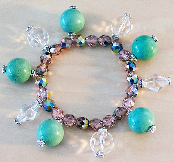 Shimmering Turquoise & Vitrail Crystal Bracelet - FREE SHIPPING!