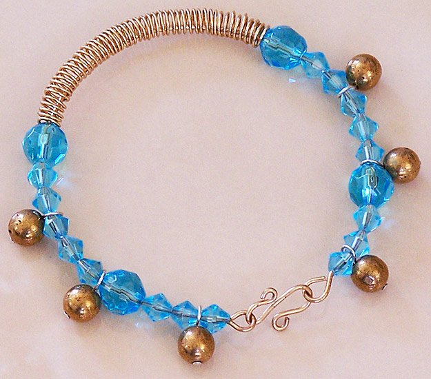 Turquoise Crystal & Brass Wire Wrap Bangle Bracelet - FREE SHIPPING!