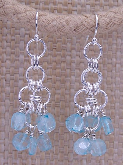 Genuine Aquamarine & Sterling Silver Dangle Earrings - FREE SHIPPING!