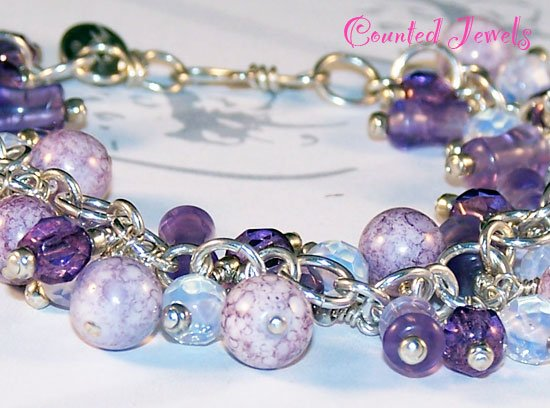 """AMELIA'S AMETHYST"" Sterling Silver Cha Cha Bracelet - FREE SHIPPING!"
