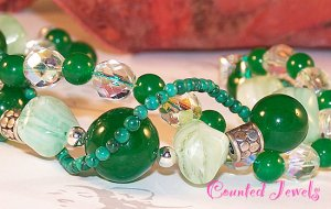 """JUICY JADE"" Multi Gemstone, Crystal & Sterling Silver Bracelet - FREE SHIPPING!"
