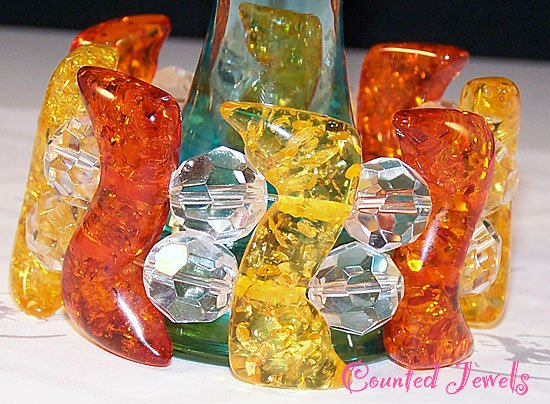"""""""ABSOLUTELY AMBER"""" Funky Chunky Amber & Crystal Bracelet - FREE SHIPPING!"""