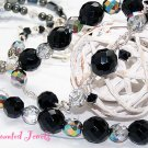 """DIVA DEBUT"" Vintage Crystal, Hematite & Sterling Silver Necklace - FREE SHIPPING!"