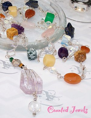 """""""COLORS"""" Multi Gemstone & Sterling Silver Necklace - FREE SHIPPING!"""