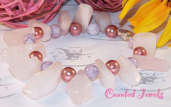 """Rocks In Rose"" Chunky Gemstone Bracelet - FREE SHIPPING!"