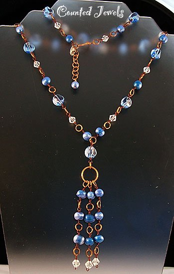"""""""THE BLUEST PEARLS"""" Blue Pearl & Crystal Necklace & Earrings - FREE SHIPPING!"""