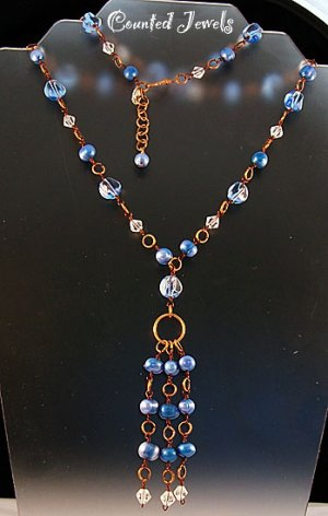 """THE BLUEST PEARLS"" Blue Pearl & Crystal Necklace & Earrings - FREE SHIPPING!"